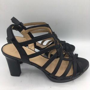 Naturalizer Flora Black Leather Heels